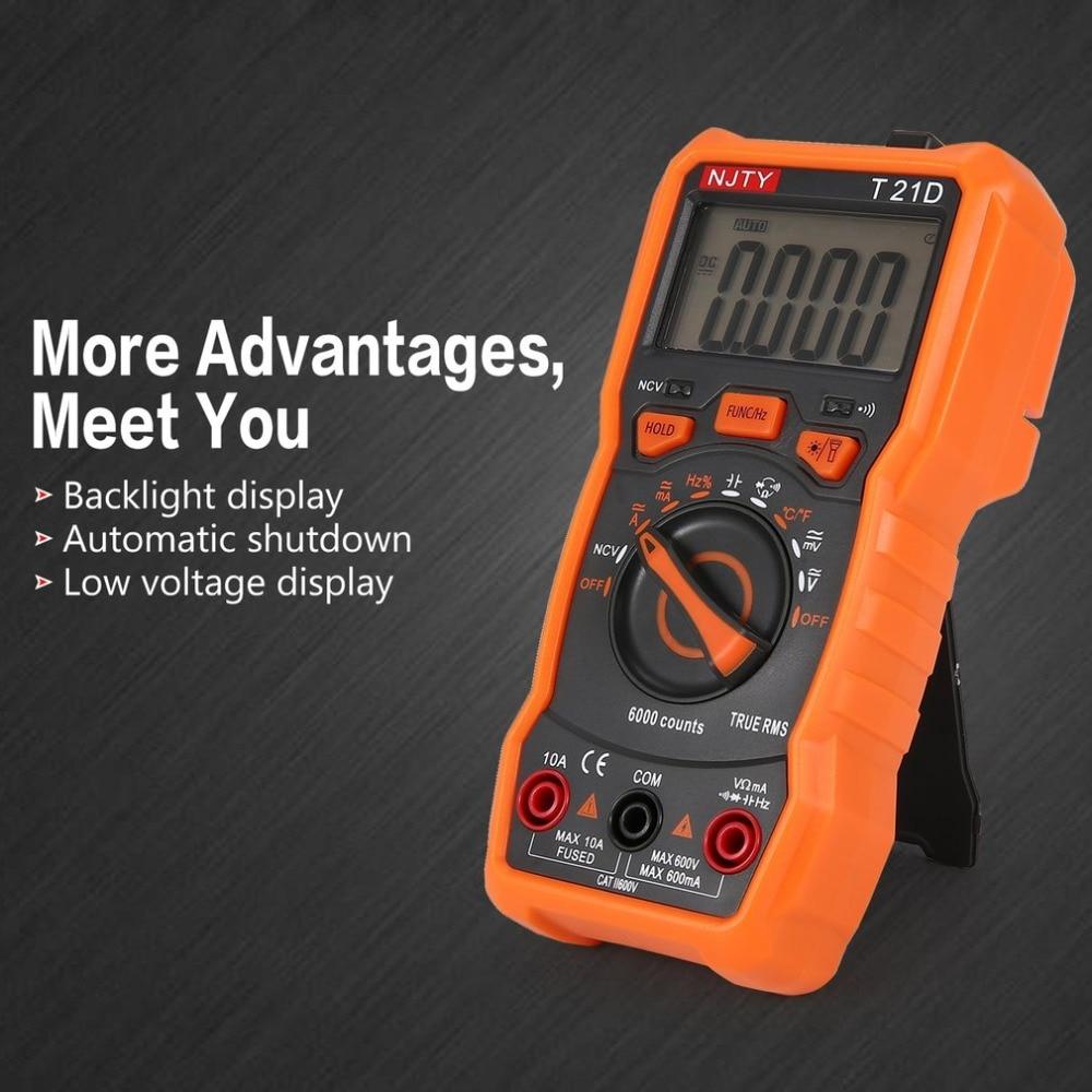 Digital Multimeter NJTY T21D DC/AC Voltage Current Meter Handheld Ammeter Ohm Diode NCV Tester 6000 Counts Multitester