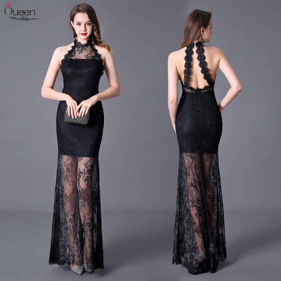 Black Lace Mermaid Cocktail Dresses Long Sexy Queen Abby Halter Sleeveless Floor-Length Zipper-Up Women Formal Party Gowns