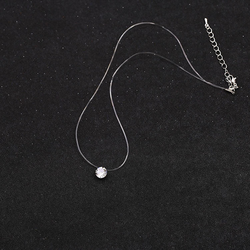 H458ece487fe6458c951d11dc1ec29633C - SUMENG New Personality Fashion Square Imitation Pearl Crystal Zircon Necklace Invisible Transparent Fishing Line Necklace Women