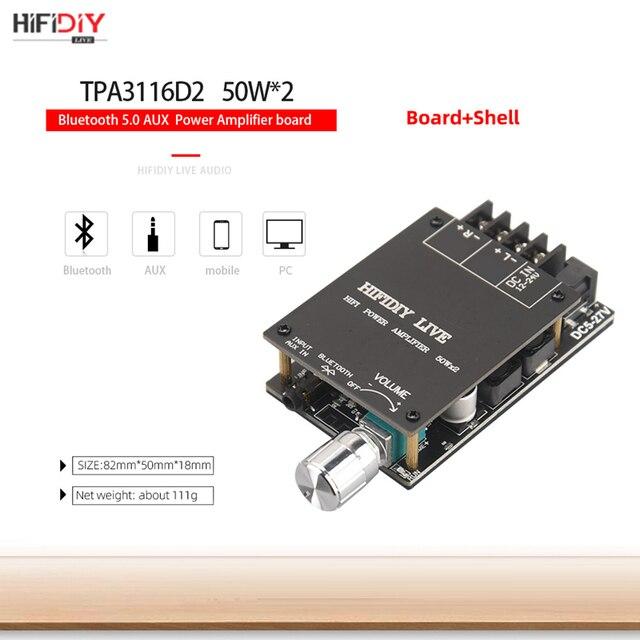 HIFIDIY LIVE Bluetooth 5.0 AUX TPA3116 Digital Power Amplifier board 2x 50W 100W speaker Stereo Audio AMP Module Home music 1002 3