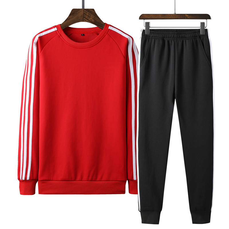 MEN'S Wear Winter Plus Velvet Sports Set Men's Long Sleeve Two-Piece Set MEN'S Hoodie Sports Clothing Slim Fit Casual Pants Set