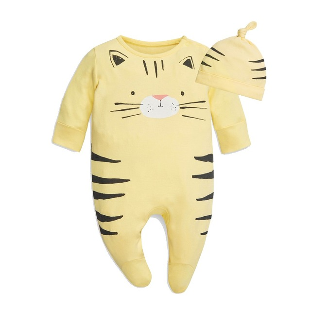 Baby Boys Girls Tiger Cat Lion Animals Cartoon Footed Jumpsuit Romper Onesies with Hat 4