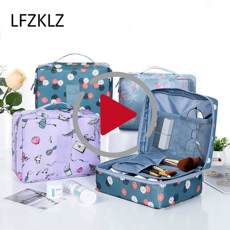 LFZKLZ 2020 Portable Women Make Up Cosmetic Bag Waterproof Beauty Case Organizer Toiletry Kits Bags Wash Pouch Travel Essential