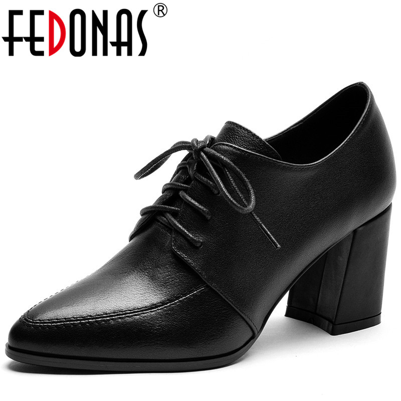 FEDONAS Women Lace Up Ankle Boots Basic Casual Shoes Concise  Spring Autumn  Butterfly Knot Fashion Square Heels  Shoes Woman