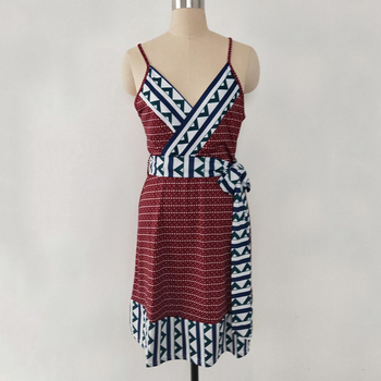 Plus Size Women dress Maternity Lady Geometry V-neck Summer Sleeveless Pregnant Mother Dresses Comfortable 8