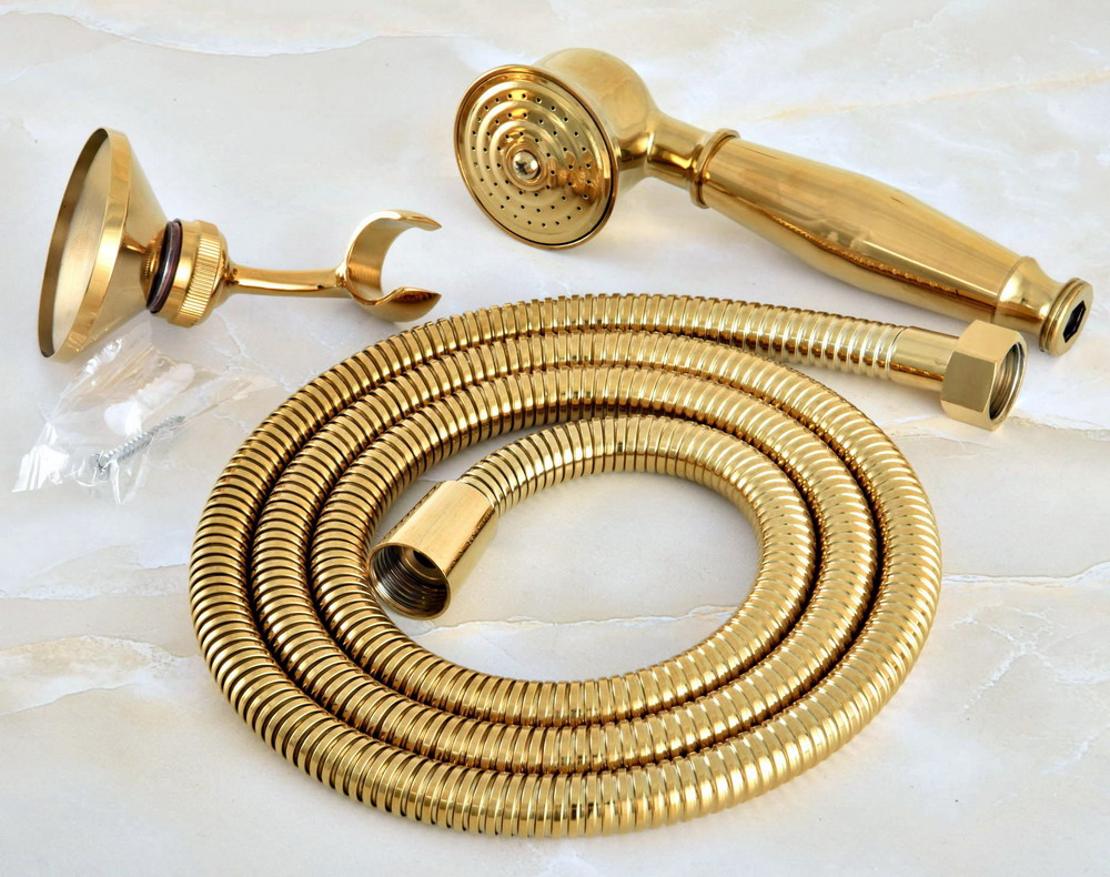 Gold Color Brass Bathroom Telephone Shape Hand Spray Bracket Holder Handheld Shower head 1.5m Hand Held Shower Head Hose mhh044