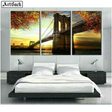 Three fight 5d diamond painting full square bridge autumn scenery mosaic embroidery crafts