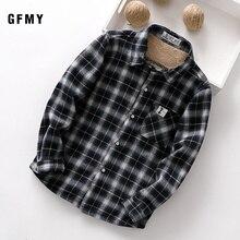 GFMY 2020 여름 100% 코 튼 전체 슬리브 패션 격자 무늬 소년 플러스 벨벳 셔츠 3T 12T 캐주얼 큰 아이 옷 수 코트