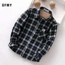 GFMY 2020 summer 100% Cotton Full Sleeve Fashion Plaid Boys  Plus velvet Shirt 3T 12T Casual Big Kid Clothes Can Be a Coat