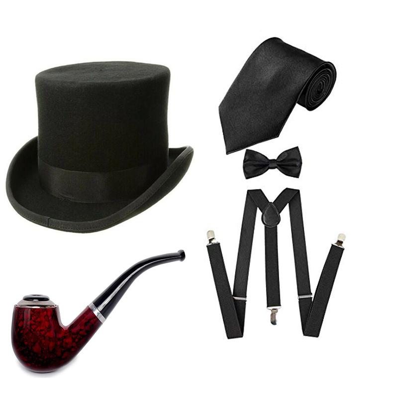 1920s Men Accessory Set Gentleman's Pipe Manhattan Hat Y-Back Suspenders Pre Tied Bow Tie Gangster Theme Party for Halloween