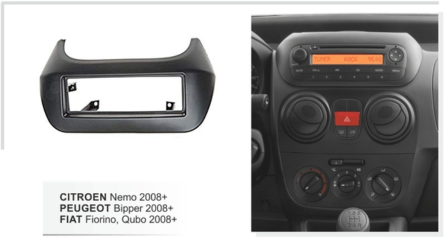 シトロエンネモのためシングルディン筋膜プジョー bipper フィアット fiorino qubo 2008 + ラジオ dvd ベゼル cd パネルダッシュキットトリム筋膜プレート