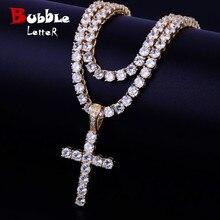 Gold Color Cross Pendant With 4mm Tennis Chain Necklace Set Mens Hip hop Jewelry AAAA Zircon Women Pendant