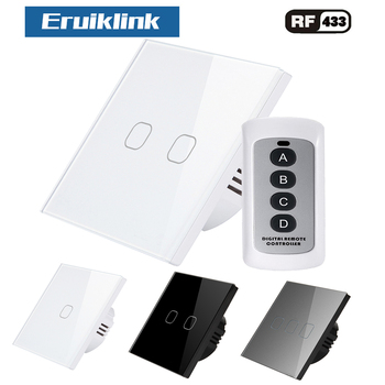 цена на Eruiklink EU/UK Standard 1/2/3 Gang 1 Way Remote Switch, AC 110~250V Wall Light Remote Touch Switch With Remote Controller