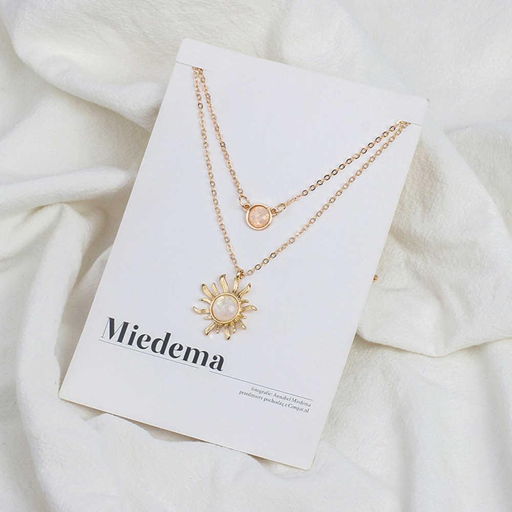 Многослойная подвеска в виде подсолнуха, ожерелья, женская мода, опал, Женская цепочка на ключицы, ювелирный подарок, Быстрая отправка, оптовая продажа, подарок для леди