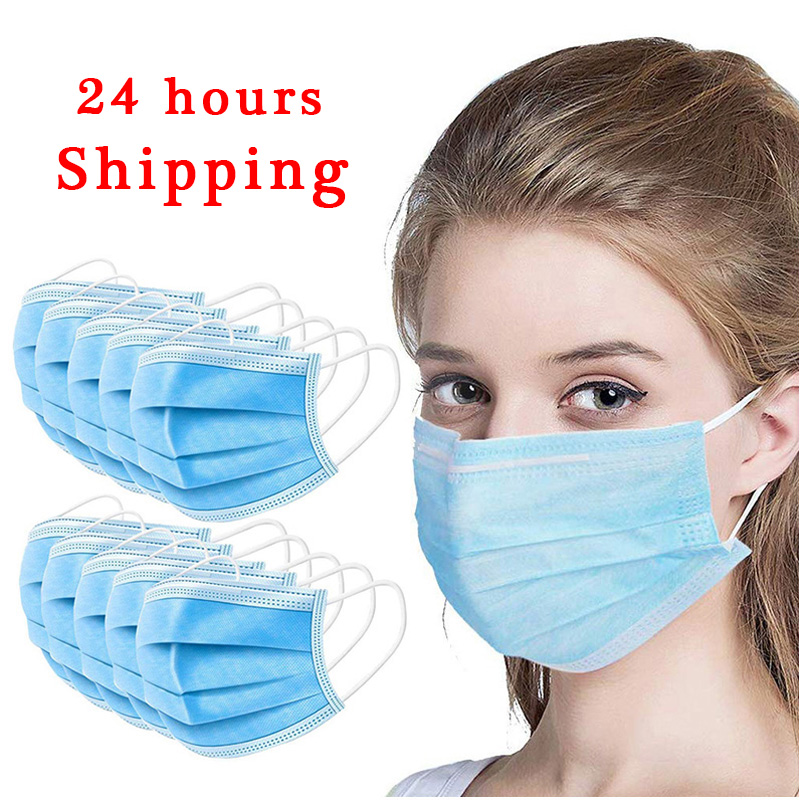 20/50PCS Medical Mask 3 Layers Disposable Face Mask Virus Filter Anti Dust Mask Bacteria Medical 24 Hours Shipping Wholesale