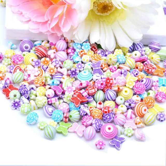 300-400pcs/set beads for jewelry making Kit DIY accessories acrylic Spacer Loose bead handmake Kids Educatinon toys for Girls 2