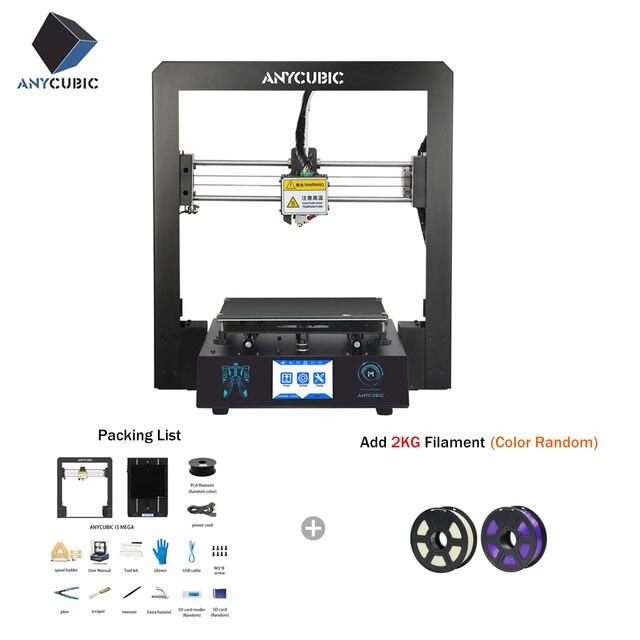 Tanie ANYCUBIC 3D drukarki I3 Mega przemysłowe kraty platformy wszystkie metalowe Plus rozmiar Impresora pulpit 3d DIY Kit imprimante