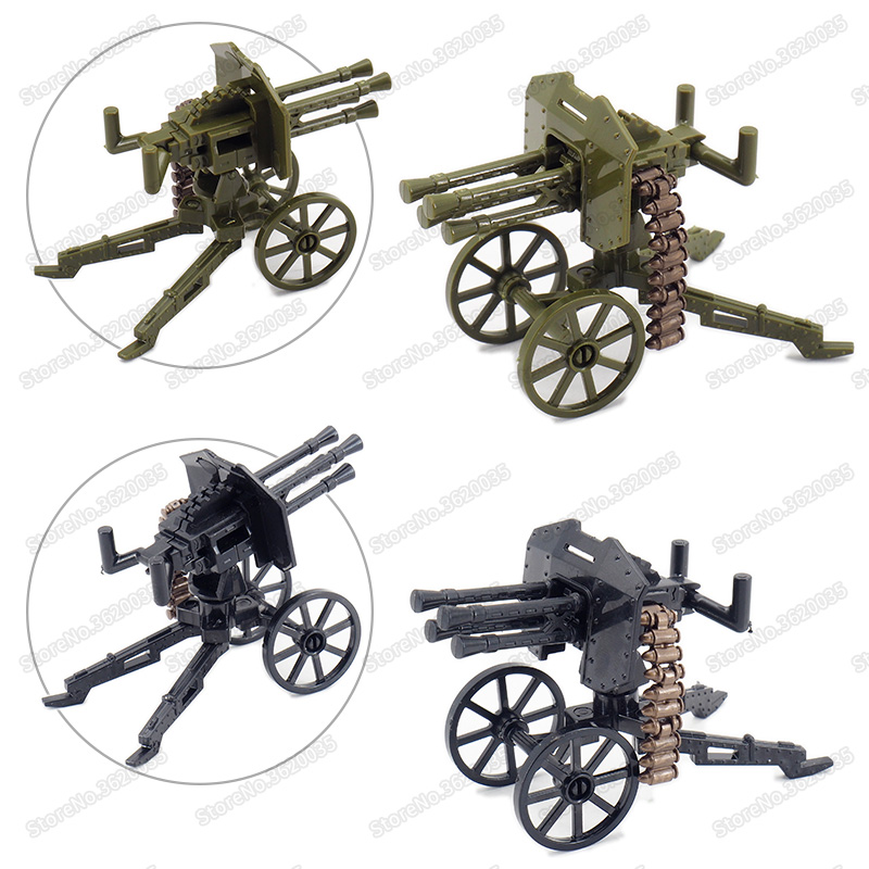 Legoinglys Military Air Defense High Shot Machine Guns Weapons Building Block Army Figures WW2 Battlefield Model Child Gift Toys