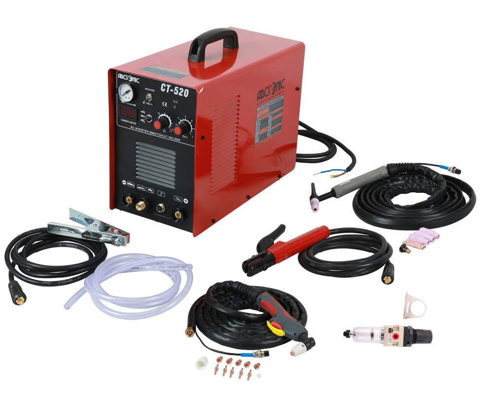 IGBT CT520 Welding Cutting Machine 50Amps TIG 200Amps MMA 200Amps 3 In 1 Welding Cutting 120/240V Clean Cutting Thickness 12mm