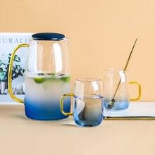 Недавно синий градиент Цвет Мрамор холодной воды набор стеклянных бутылок высокого Температура устойчивый Стекло горшок, кувшин чайник
