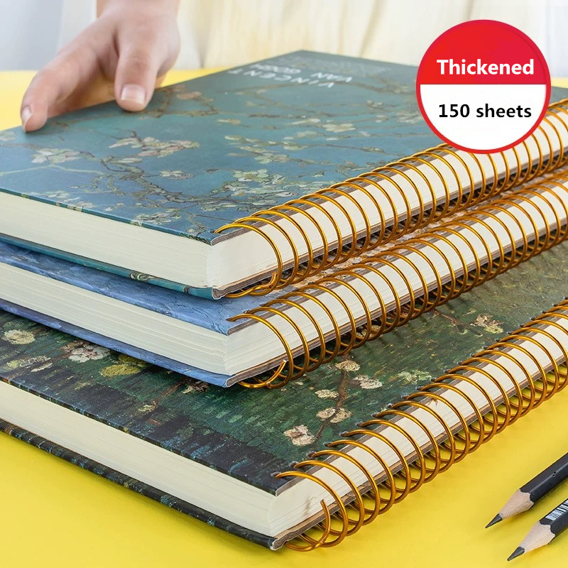 2020 New 150 Sheets Thickened Vintage Van Gogh Notebook Planner Agenda Daily Monthly Study Work Notepad Agenda School Stationery