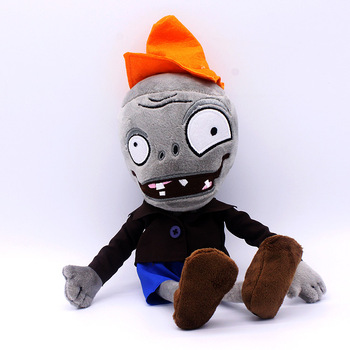 Big Anime Plants Vs Zombies Figures Small Eyes Conehead Zombie Stuffed Animals Plush Doll Kids Toys Great Gift image