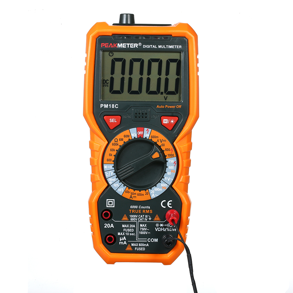 PEAKMETER PM18C True RMS Digital Multimeter Measuring AC DC Voltage Current Resistance Capacitance Frequency  Meter
