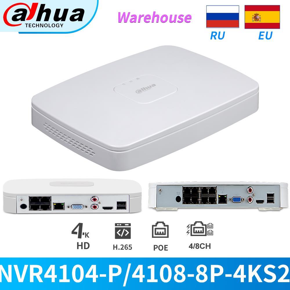 Dahua NVR 4K 4/8CH POE 8MP NVR NVR4104-P-4KS2 NVR4108-8P-4KS2 H265 grabadora de vídeo de red ONVIF HDMI VGA para cámara IP CCTV