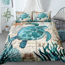Juego de ropa de cama de arte digital de tortuga vintage juego de ropa de cama de tamaño único