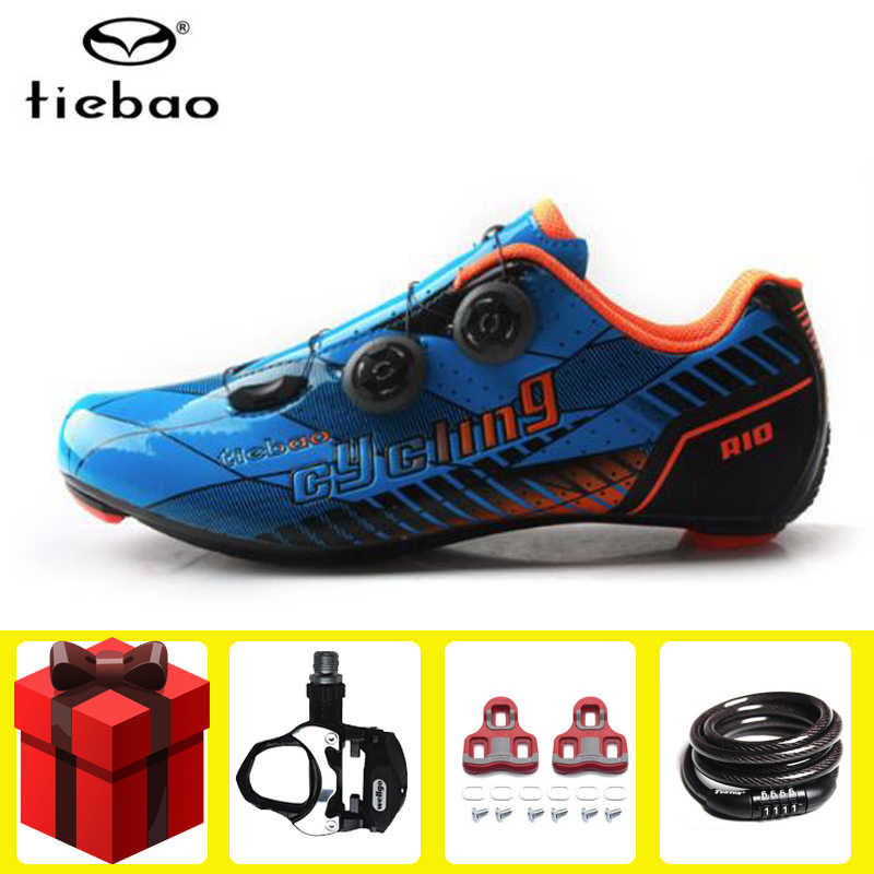 Tiebao road cycling shoes men carbon fiber racing add pedal cleat set bike self-locking atop bicycle sneakers women athletic