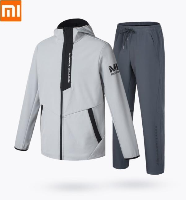 Xiaomi ULEEMARK Men's Softshell Classic Sports Suit Plus Velvet Keep Warm Windproof Waterproof Jacket Pants Soft Coat Trousers