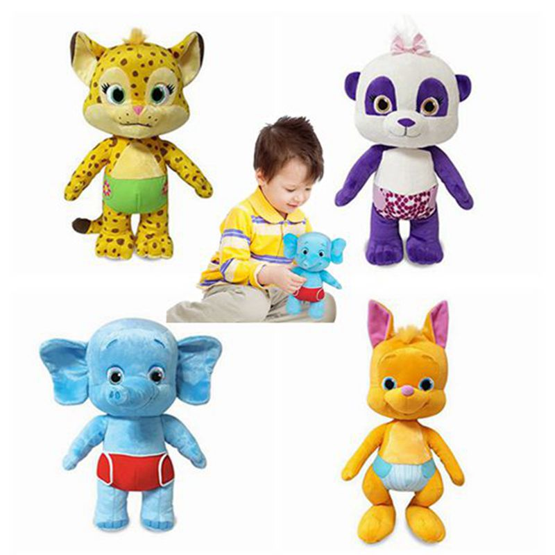New 25 Cm Word Party Plush Doll Learning Stuffed Toy Lulu Franny Bailey Kip Leopard Kangaroo Elephant Panda Kids Gifts