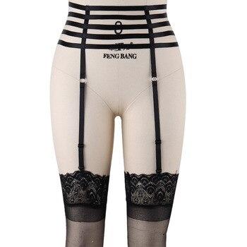 Pastel Goth Stockings Garter Belt Women Body Bondage Harness Rave Wear Edgy Body Cage Cinta Liga Sexy Lingerie Belt Garter