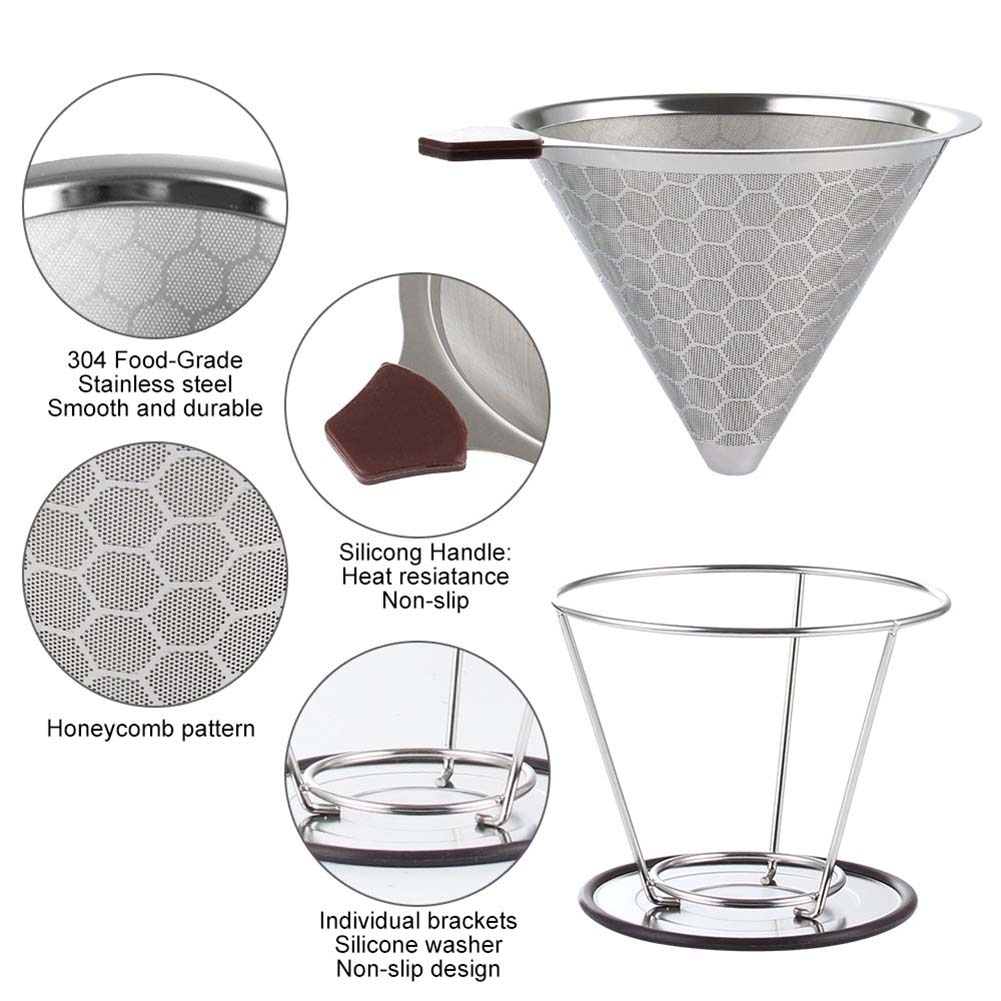 Многоразовый фильтр для кофе, прочный держатель из нержавеющей стали, сетчатые корзины с воронкой, фильтр для кофе, фильтр для капельницы, ф...