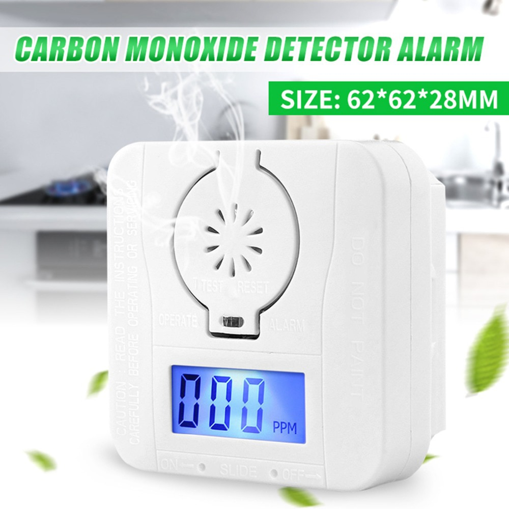 LCD CO Sensor Carbon Monoxide Detector Digital Warning Smoke Alarm Battery Power CO Detector Alarm Security Alarm