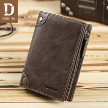 DIDE Brand 100% Cowhide mens Wallets Male Purse Short Genuine Leather Zipper Coin Wallet Card Holder Fine Gift Box