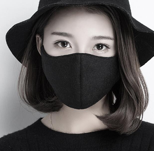 Men Women's Windproof Woolen Patchwork Cotton Mask Lady's PM 2.5 Hip Hop Punk Breathable Silk Lining Woolen Mouth-muffle R2738