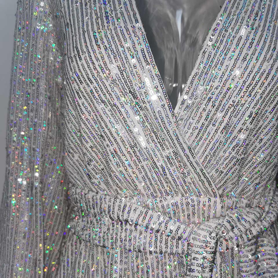 Karlofea נשים מזדמן ארוך שרוול צבעוני נצנצים שמלת סתיו שיק סלבריטאים מסיבת תלבושות קצר שמלת נצנצים מועדון Vestidos