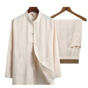 Ropa de talla grande Wu Shu para padre, camisa de manga larga 4XL + pantalón de lino de algodón 2 unidades/conjunto de traje de hombre Kung Fu de Tai Chi l Classic 2020