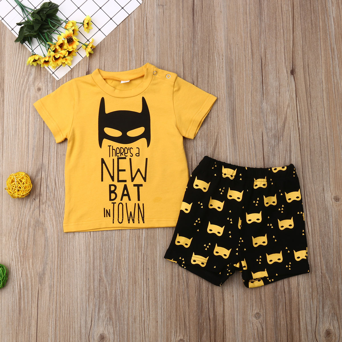 Emmababy Newest Fashion Newborn Baby Boy Clothes Cotton Print T-Shirt Tops Short Pants 2Pcs Outfits Clothes Summer