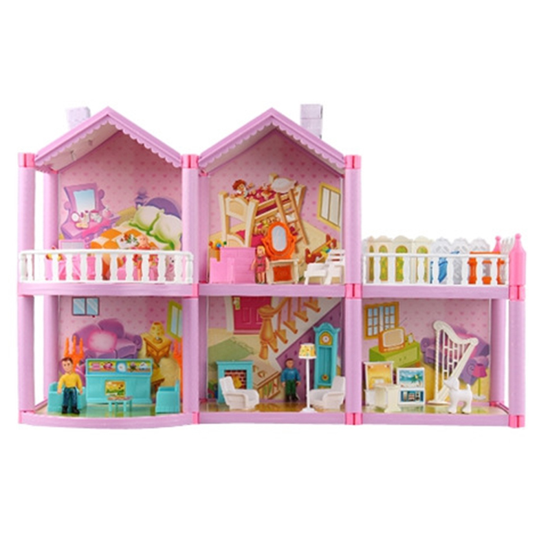 New DIY Families Doll House With Miniature Furniture Garage Accessories Toy DIY Dollhouse Toys For Girls Gifts With Box