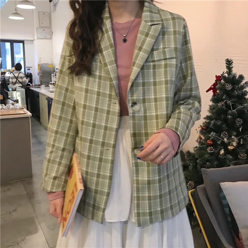 Drop Shipping Single-breasted Women Plaid Blazer Jacket Vintage Female Grid Suit Coat Loose Office Ladies Workwear Outerwear
