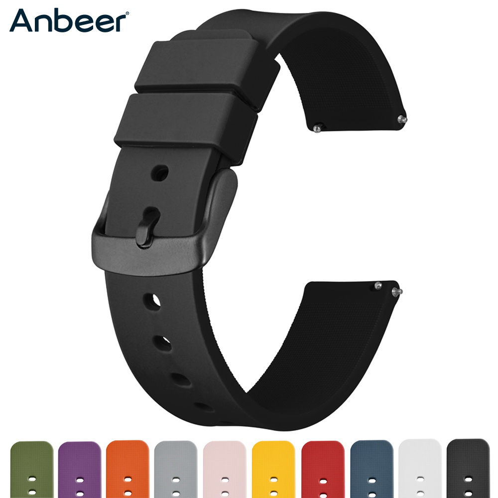 Anbeer Rubber Watchband 14mm 18mm 20mm 22mm 24mm Quick Release Replacement Bracelet Men Black Sport Silicone Watch Strap