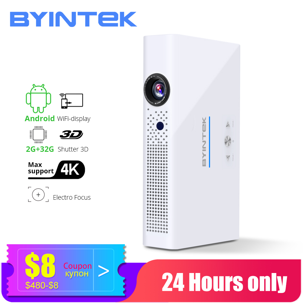 BYINTEK Mini 3D Projector R19 4K ,Smart Wifi Android Beamer,Portable LED DLP LAsEr Proyector For Smartphone 300inch  VIP Cinema