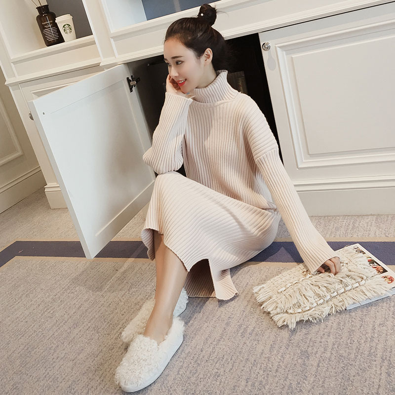 Korean Sweater Dress Women Knitted Sweaters Dresses Women Over-knee Sweater Dress Plus Size Split Turtleneck Sweaters Dresses OL 4