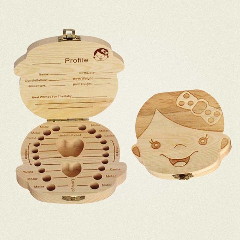 Wooden Kids Baby Teeth Box Organizer Milk Teeth Wood Storage Teeth Box For Boy Girl Save Teeth