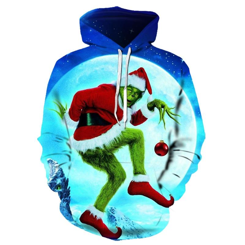 3D Grinch Hoodie Christmas Hoodie Cartoon Animation Green Monster Sweatshirt Men And Women Autumn Street Clothing Asian Size6XL