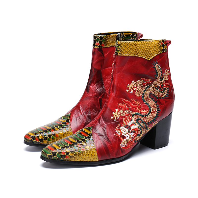 Europe America Winter Pointed-toe Zip  Dragon Embroidery Ankle Boots High Heel Fish Pattern Boots Fashion  Martin Boots