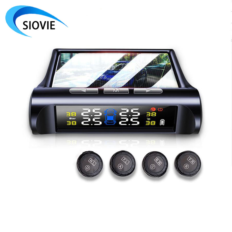 Smart Car TPMS Tire Pressure Sensor Monitoring System Solar Power Digital LCD Display Security Alarm Systems Tyre Pressure