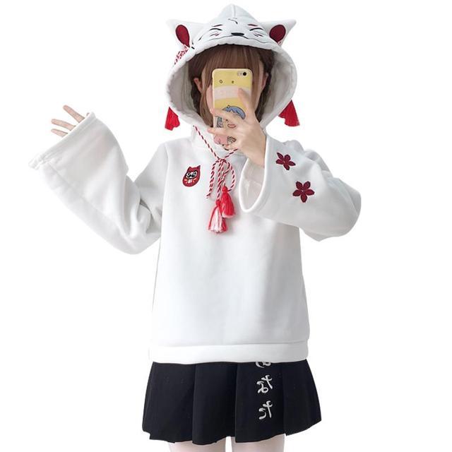 casual girl cute cat hoodies animal hoodies with ears and tail japanese embroidery hoodie oversized hoodie cute sweatshirt girls 3